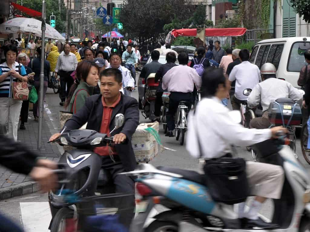 Early morning rush hour in Shanghai