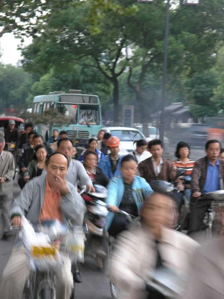 Cyclists, Suzhou